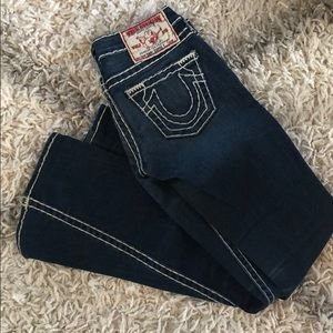True religion jeans with white stitching